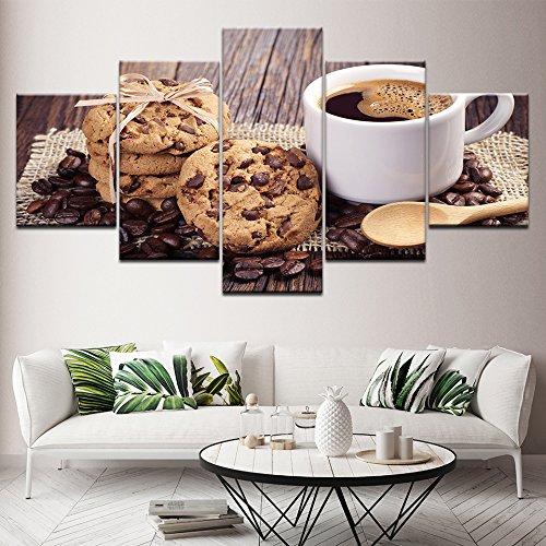 MMLFY 5 opeenvolgende schilderijen espresso chocolade chip cookies 5 stuks HD behang kunst canvasdruk moderne poster modulaire kunst schilderij woonkamer wooncultuur