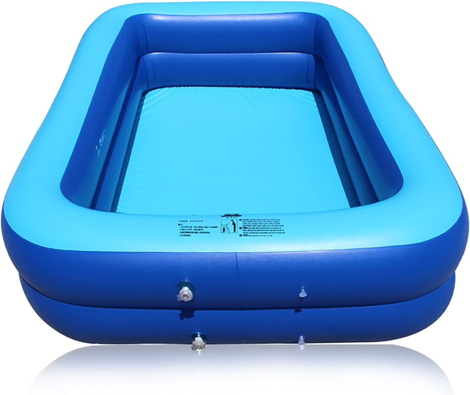 GJ@ Inflatable Pool Thicker Adult Square Swimming Pool (Can Accommodate 5 People, Suitable For Home) ++ (color   Two layers, Size   260 cm)