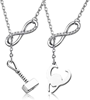 WENATA Thor Loki Friendship Jewelry Best Friends Necklaces Long Distance Relationships Gift Thor Loki Fans Necklaces BFF G...