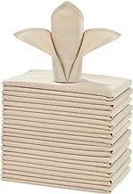 Lionel Philip Servilletas de Mesa Blancas de 12 Piezas Servilleta de Tela de poliéster de 30 cm 1 docena de servilletas de Navidad de 17x17 Pulgadas Beige