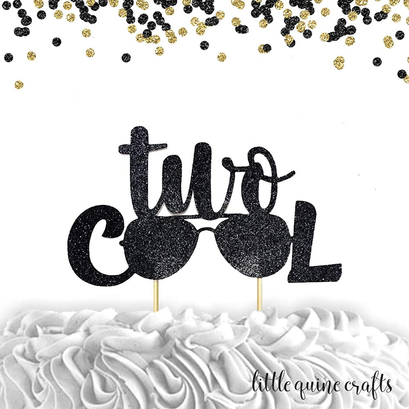 1 pc two Cool little man sunglasses Black Glitter Cake Topper second Birthday boy party too cool