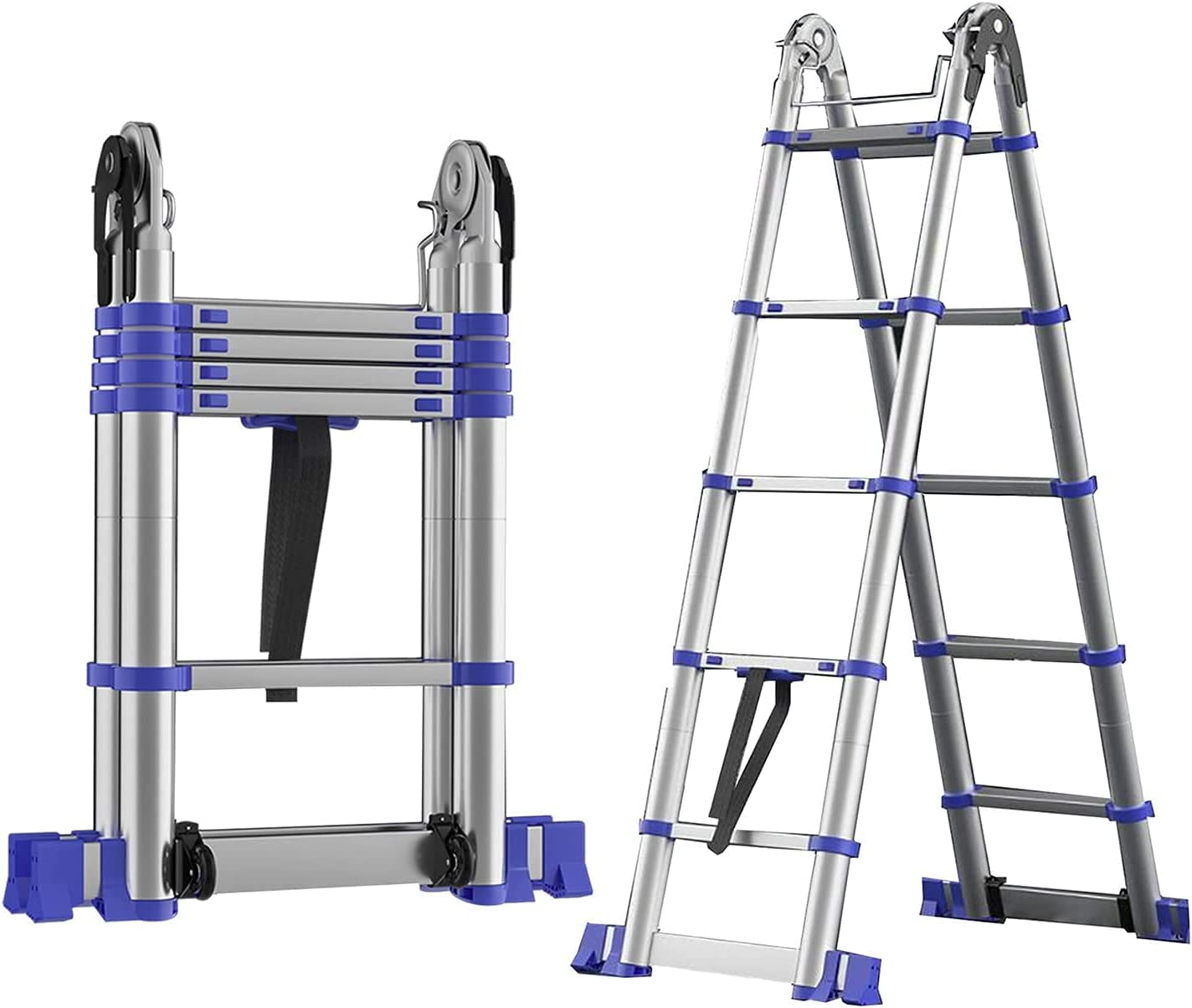 Max 45% OFF HBSC Portable Extension Ladder Non-Slip for an Limited time cheap sale Foot Pedal Indoor