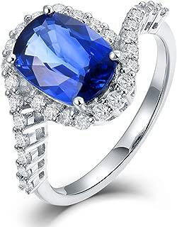 Unique Design 14K White Gold Blue Sapphire Engagement Diamonds Ring Wedding Band for Women