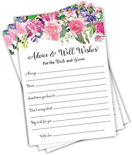 Wedding Advice and Well Wishes - Floral Watercolor Flower Roses Peonies Guest Book Alternative Rustic Vintage (50-Cards)