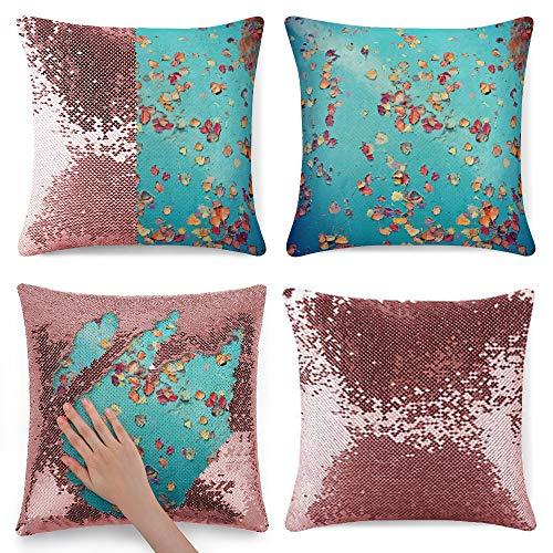 pealrich Fundas de almohada cuadradas para sofá cama, color azul turquesa franela, fundas de cojín decorativas, 40,6 x 40,6 cm
