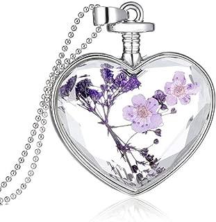 Women Dry Flower Heart Glass Wishing Bottle Pendant Necklace