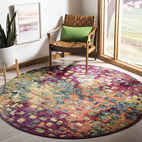 Safavieh Monaco Collection MNC225D Modern Abstract Watercolor Pink and Multi Round Area Rug (3' Diameter)