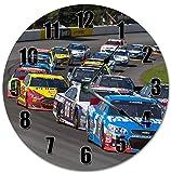 PotteLove - Reloj de pared redondo de madera, diseño clásico de velocidad Nascar de 12 pulgadas