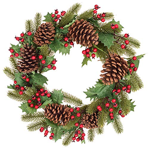 Lvydec 18 Inch Christmas Wreath - Artificial Spruce Wreath with Red Berries and Pine Cones for Christmas Front Door Window Fireplace Decoration