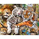 5D DIY Pintura de Diamante Taladro Completo Diamond Painting Kits León y tigre leopardo Imagen Rhinestone Punto de Cruz Pintura Diamante Bordado Hogar Art Decoración 60x80cm A2604