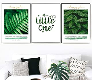 Green Tropical Ferns Leaf Quote Landscape Wall Art Prints On Canvas Nordic Posters and Prints Wall Pictures for Living Room Decor Unframed 40X60Cmx3