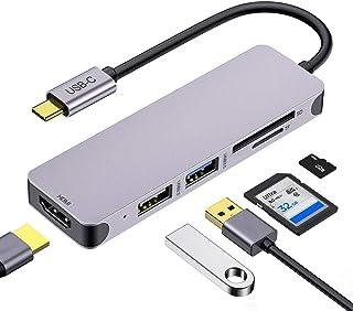 Adattatore multiporta USB C, 5 in 1, dongle portatile in alluminio con uscita HDMI 4K, porta USB 3.0 USB 2.0 MicroSD/TF Ca...