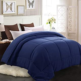 MEROUS Queen Comforter - Soft Quilted Down Alternative Duvet Insert with Corner Tabs,Summer Fluffy Reversible Hotel Collection Comforter - Navy Blue,88x88 inch