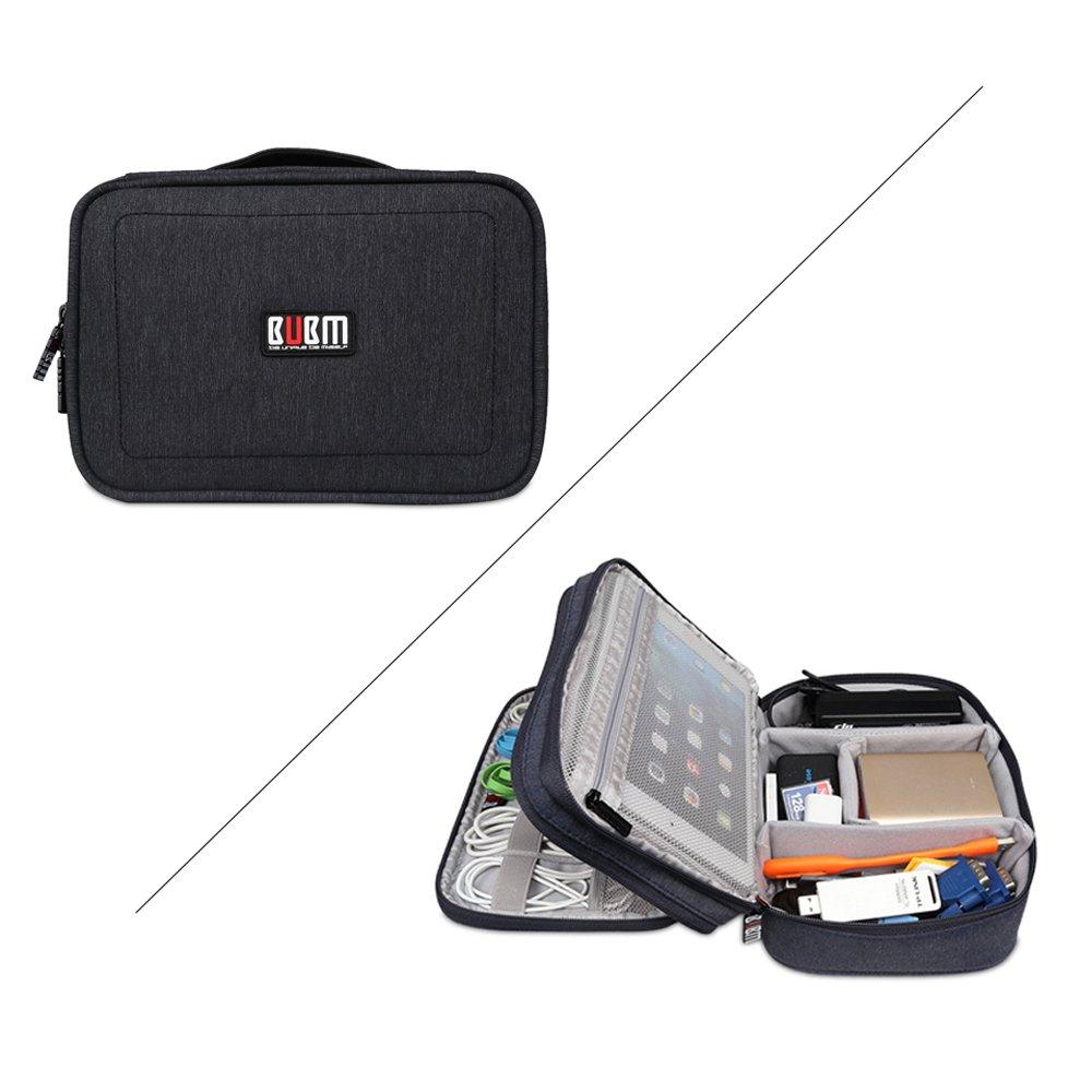 BUBMは美しいDPSパワーパックデジタルアクセサリー仕上げバッグ収納バッグウォッシュバッグ化粧品バッグiPad収納(小型24 * 17.5 * 8CM、ブラック)