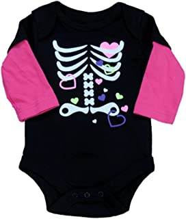 Fade Glory Infant Girl Black Pink Skeleton Creeper Halloween Bodysuit Shirt