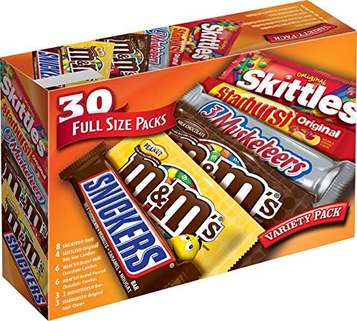 Mars MampM#039S SNICKERS 3 MUSKETEERS SKITTLES amp STARBURST Full Size Chocolate Candy Variety Mix 5611Ounce 30Count Box Assorted