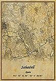 Póster de mapa de Sabadell de España con impresión en lienzo de estilo vintage, sin marco, decoración de regalo de 30 x 40 cm