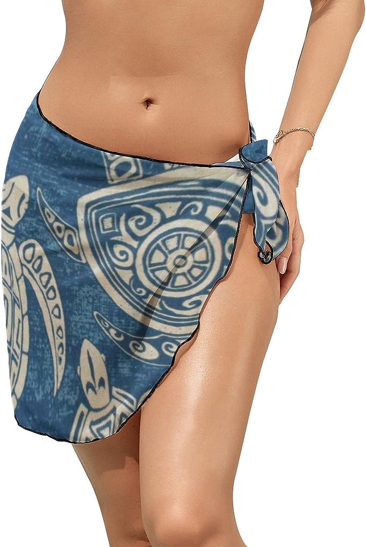 Women Beach Wrap Sarong Cover Up Sea Turtles Blue Sexy Short Sheer Bikini Wraps