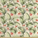 ABAKUHAUS Blatt Stoff als Meterware, Hawaii Aloha Hibiskus,