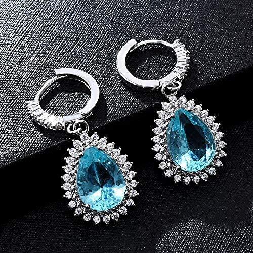 Arete Pendientes Redondos de Cristal de Moda Drop Dangle Womens Wedding Jewelry Pendientes de Moda