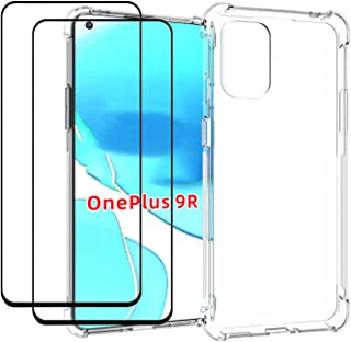 EasyLifeGo for OnePlus 9R Case with Tempered Glass (2 Pieces) Slim Shock Absorption TPU Soft Edge Bumper with Reinforced C...