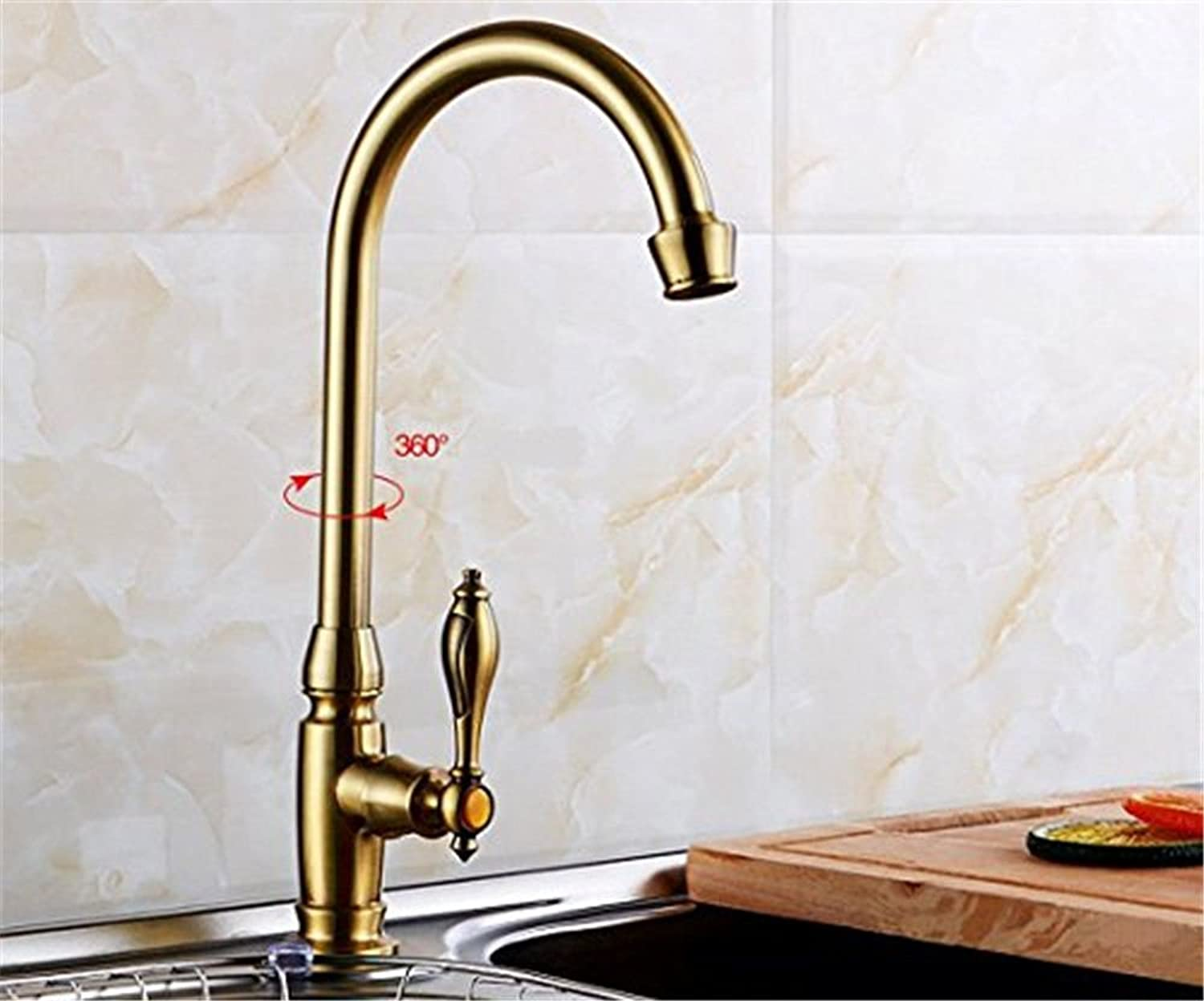 Bijjaladeva Antique Kitchen Sink Mixer Tap The Kitchen Sink Kitchen Basin Faucet Basin Sink Swivel Single Hole Single Cold-Water-Tower high-Angled 360° Swivel tap Water n