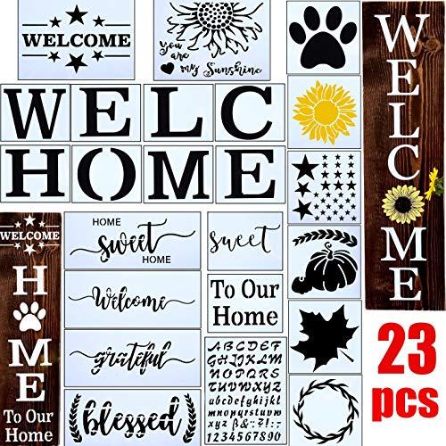 23 plantillas de bienvenida para pintar sobre madera, para el hogar, cartel de porche reutilizables, para puerta delantera, vertical, con plantilla, diseño de huella de perro y patrón orther