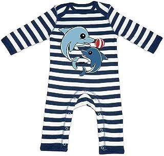 HARIZ HARIZ Baby Strampler Streifen Delfine Spielend Mit Wasserball Süß Tiere Dschungel Plus Geschenkkarte Navy Blau/Washed Weiß 3-6 Monate