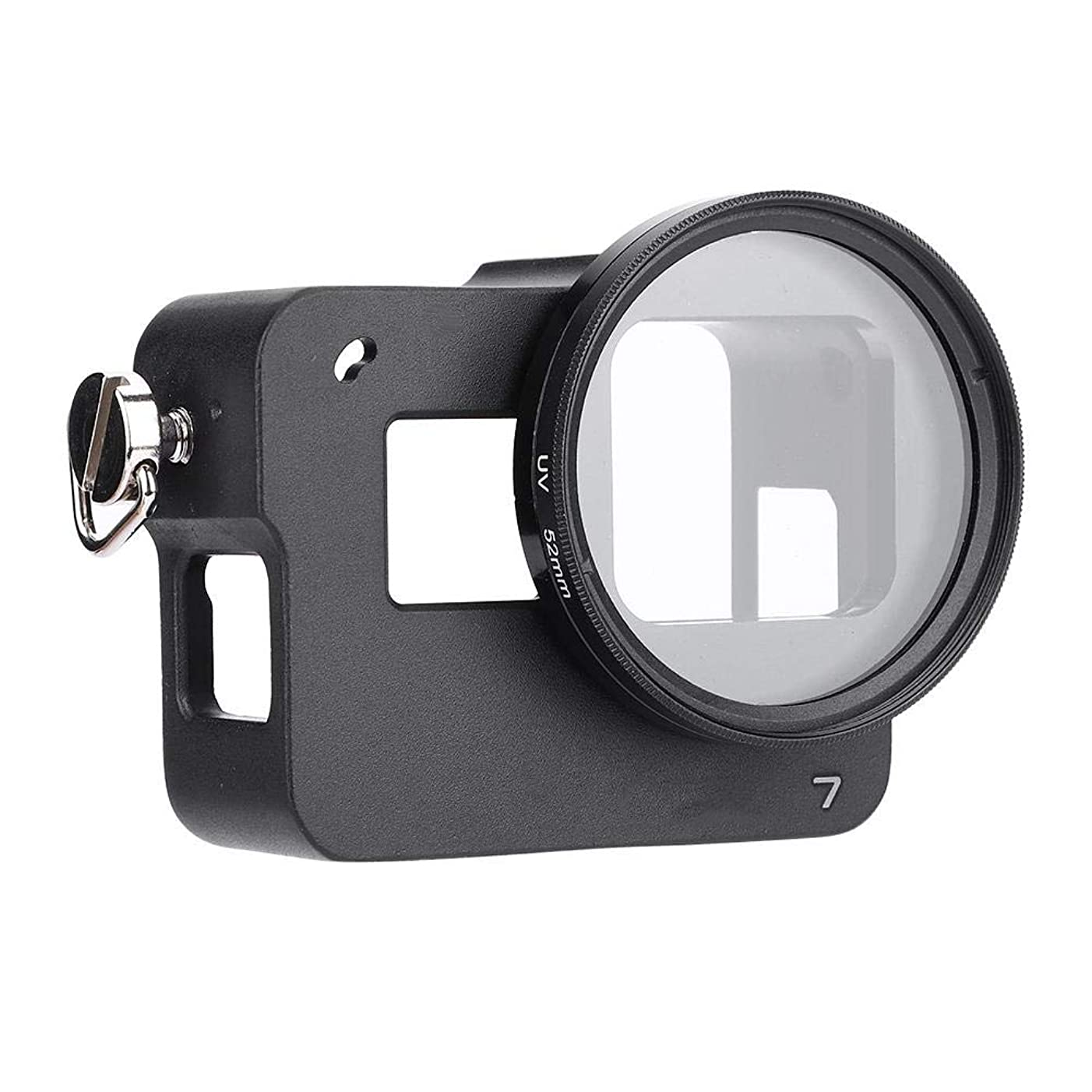 Serounder Aluminum Alloy Housing Cage Frame Case Lens Frame Protective Shell for GoPro Hero 7 Camera(Without Back Cover)