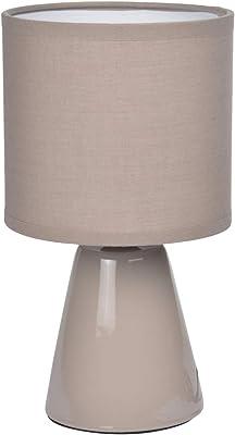 HOMEA 6LCE066TA LAMPE, CERAMIQUE, 40 W, TAUPE, L.12l.12H.22CM
