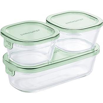 iwaki(イワキ) 耐熱ガラス 保存容器 グリーン 3個セット パック&レンジ PS-PRN-3G2