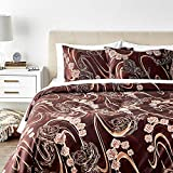 Tache Home Fashion Tache 3 Piece Melted Gold Brown Floral Duvet Cover Set, Full