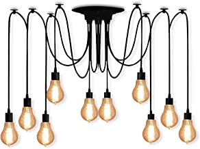 Veesee 10 Arms Industrial Ceiling Spider Lamp,Retro E26 Edison Bulb Hanging Chandelier Lights,DIY Adjustable Modern Chic Pendant Lighting for Bedroom Dinning Living Room Kitchen Coffee Shop(2m Wire)