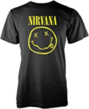 Nirvana T-Shirt Smiley Logo da Uomo in Nero
