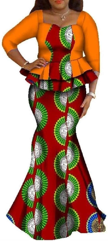 Abetteric Women's Dashiki Graphic TwoPiece Suit Plus Size Batik Maxi Skirt
