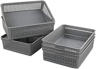 Nicesh A4 Size Plastic Basket, Desktop File Storage Organization Tray, Set of 6 (Grey)