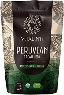 VITALINTI USDA ORGANIC SUPERFOODS PERUVIAN CACAO NIBS CONTAINS FIBERS, SUGAR FREE [8 oz]