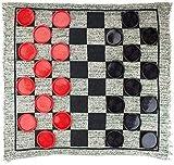 Leilims Damas de ajedrez y Backgammon Gigante 3-en-1 Damas y Mega Tic TAC Toe con la Manta Reversible - Jumbo Exterior Juegos de Interior / Tablero de diversión Familiar Partes