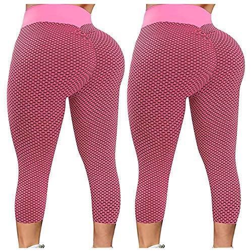 KYZRUIER Damen Yogahose mit Wabenmuster, strukturiert, hohe Taille, gerüscht, Stretch, Fitnessstudio, Laufen, Fitness, Sport, 2 Stück