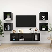 Hoogglans zwarte spaanplaat Furniture5 stuk TV kabinet Set hoogglans zwarte spaanplaat