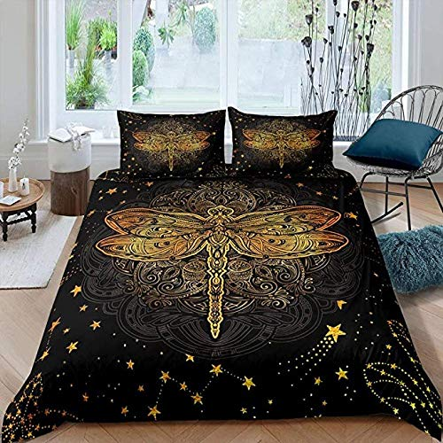 Juego ropa cama Boho Dragonfly, juego funda edredón con mandala dorado, edredón exótico bohemio para niños, adolescentes, mujeres adultas, colcha estrellas con efecto tie dye, decoración dormitorio
