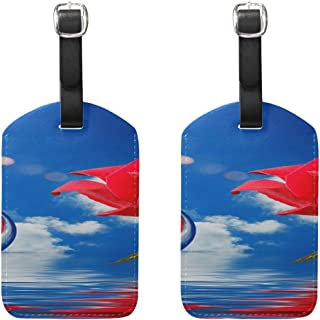 Red Rose Bubbles Clouds Blue Sky Water Reflection Pattern Pu Leather Id Tags Business Card Holder Labels Baggage Suitcase Luggage Tags Travel Accessories