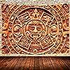 アステカのタペストリーマヤ暦アステカのシンボルタペストリー古代の部族の石碑壁のタペストリー家の装飾のための芸術リビングルームの寝室のベッドカバー60x40inch / 150x100cm 66
