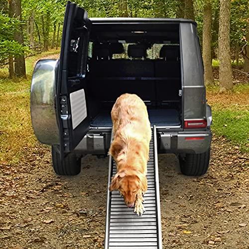 RAMROXX 39778 Auto PKW Hunderampe Einstieghilfe Anti Rutsch klappbar Grau 155x40cm 90Kg