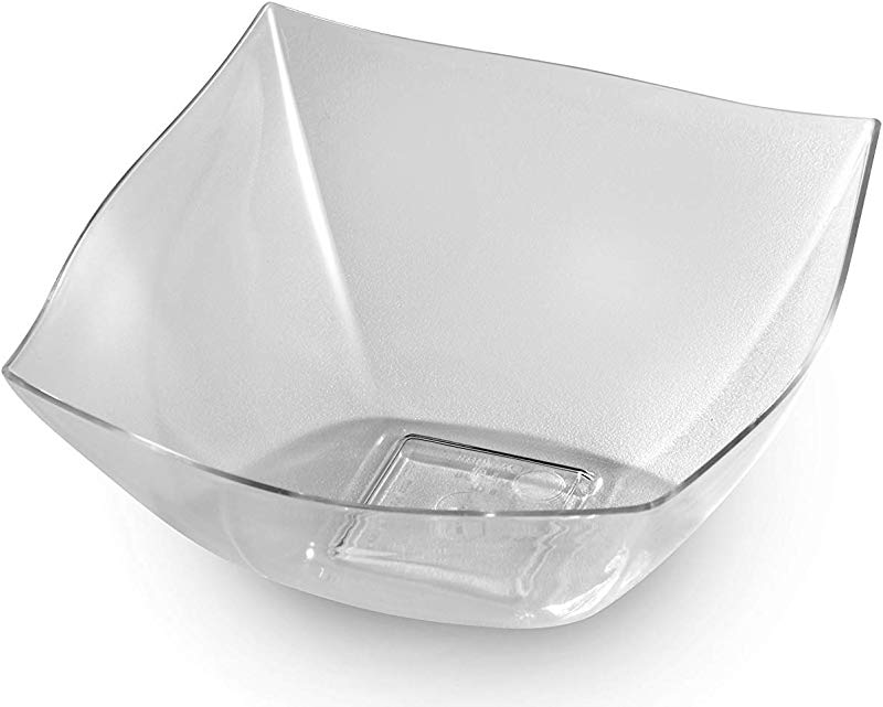 Zappy 8 Square Clear Plastic Serving Bowls 8 Oz Heavyweight Disposable Condiment Bowl Candy Bowl Dessert Bowls Clear Bowls Perfec Salad Bowl Rice Bowl Sugar Bowl Or Fruit Bowl For Cut Fruit