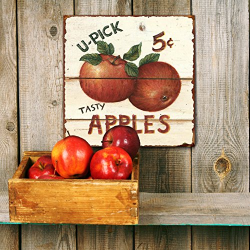 "Barnyard Designs 'Tasty Apples 5 Cents' Retro Vintage Metal Tin Bar Sign, Decorative Wall Art Signage, Primitive Farmhouse Country Kitchen Home Décor, 11"" x 11"""
