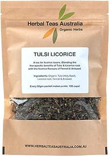 Herbal Teas Australia Organic 'TULSI LICORICE' Tea 50gm - Organic Herbal Tea with Aniseed/min 100 cups from every packet