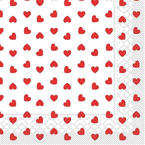 Sovie Home Serviette Love | Tissue-Serviette 33x33 cm | saugstark hochwertig | ideal für Hochzeit & Feiern | 20 Stück Rot