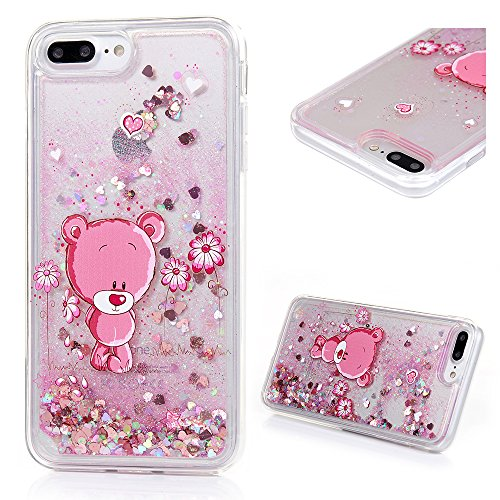 Protective Case Compatible with iPhone 7 Plus, iPhone 8 Plus Case, Transparent Crystal Clear Soft Flexiable TPU Shell 3D Handmade Bling Sparkle Glitter Quicksand Flowing Liquid Cover with Cute Panda