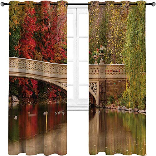 """HouseLookHome Room Darkening Curtain NYC Soundproof Window Curtain Panels Bow Bridge in Autumn Season for Patio & Hall Room 2 Grommet Top Curtain Panels, 52"""" W x 84"""" L"""